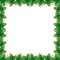 Rahmen der Blätter dekorativ mit Lichtern Weihnachten vektor