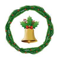 Glocke Weihnachten in Kranzdekoration isolierte Ikone vektor