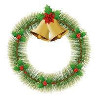 Glocken Weihnachten mit Kranzdekoration isolierte Ikone vektor