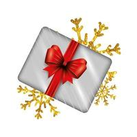 presentförpackning närvarande med snöflingor isolerad ikon vektor