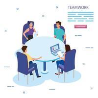 Arbeitsteamgruppe beim Treffen mit Avatar-Charakteren vektor