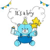 Netter Teddybär mit Ballonen und Babyflasche zur Baby-Dusche vektor