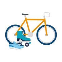 isolierte Fahrradrolle und Schuhvektordesign