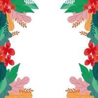 Rahmen der Blumen mit Blättern natürliche isolierte Ikone vektor
