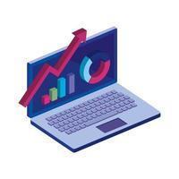 Laptop-Computer mit Infografiken isoliert Symbol