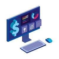 Computer-Desktop mit Statistik und Menü-App
