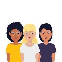 grupp vackra kvinnor avatar karaktär ikon