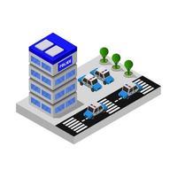 isometrische Polizeistation auf weißem Hintergrund dargestellt