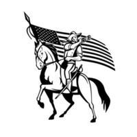 Kavallerie der Vereinigten Staaten auf Pferd bläst Signalhorn mit USA-Flagge vektor
