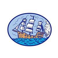 Boreas bläst Segelschiff ovale Zeichnung