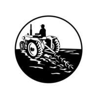 Bauer fährt einen Oldtimer-Traktor vektor
