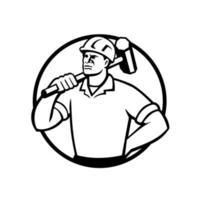 rivningsarbetare med slägga cirkel retro vektor