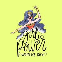 Schriftzug über Frauentag mit Super Hero Wonder Woman vektor