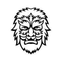 cirkus wolfman eller wolfboy huvud maskot svartvitt vektor