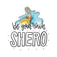 Beschriftung über Frauentag mit Superheld-Frau mit dem langen blauen Haar vektor