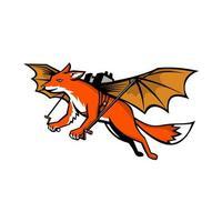 flygande räv med maskot för mekaniska vingar vektor