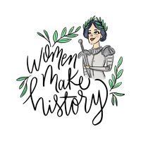 Schriftzug über den Tag der Frau mit Jeanne d'Arc Charakter vektor