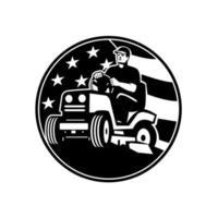 amerikansk trädgårdsmästare Groundman Groundskeeper ridning ride-on gräsklippare usa flagga retro vektor