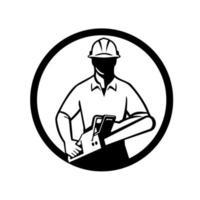 Baumpfleger oder Baumchirurg, der Kettensägenkreis retro hält vektor