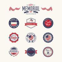 Memorial Day-märken Vector Pack