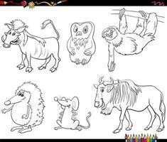tecknade djur karaktärer ställa in färg bok sida vektor