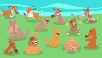 komiska hundar tecknade djur karaktärer grupp vektor