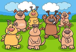 lustige Hundekarikaturtiercharaktergruppe vektor