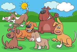glückliche Hunde und Welpen Zeichentrickfigurengruppe vektor