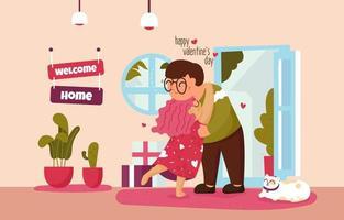 välkommen hem på alla hjärtans dag för par eller äktenskap familj vektor