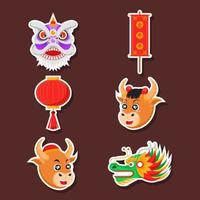 Set Aufkleber mit sechs chinesischen Neujahrsattributen vektor
