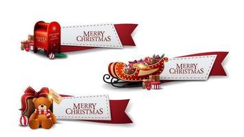 uppsättning jul hälsning röda band med jul ikoner isolerad på vit bakgrund vektor