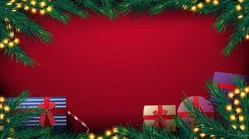 jul röd bakgrund med julgran ram med gul glödlampa kransar och presenter, ovanifrån vektor