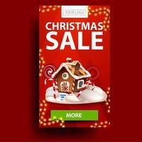julförsäljning, vertikal röd rabattbanner med krans, knapp och pepparkakshus för jul vektor