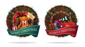 Weihnachtszeichen in der Form eines Holzfasses mit einem Grußband und Weihnachtsikonen lokalisiert auf einem weißen Hintergrund vektor