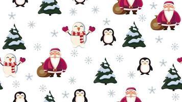 nahtlose Weihnachtsbeschaffenheit mit Weihnachtsmann, Pinguin, Weihnachtsbaum, Schneemann und Schneeflocken auf weißem Hintergrund vektor
