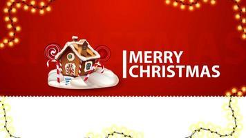 Frohe Weihnachten, rote Grußkarte für Website mit Girlande und Weihnachten Lebkuchenhaus