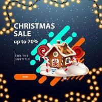 julförsäljning, upp till 70 rabatt, rabatt dyker upp för webbplats med jul pepparkakshus vektor