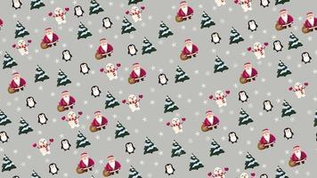nahtlose Weihnachtsbeschaffenheit mit Weihnachtsmann, Pinguin, Weihnachtsbaum, Schneemann und Schneeflocken auf grauem Hintergrund vektor