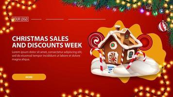 julförsäljning och rabattvecka, röd banderoll med lavalampdesign, julgran, krans och pepparkakshus vektor