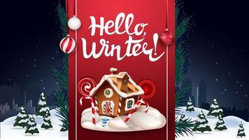 Hallo Winter, Postkarte mit Nachtwinterlandschaft und rotem vertikalen Band mit Beschriftung und Weihnachtslebkuchenhaus