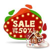 Weihnachtsverkauf, bis zu 50 Rabatt, modernes rotes Rabattbanner im Lavalampenstil mit Weihnachtslebkuchenhaus vektor