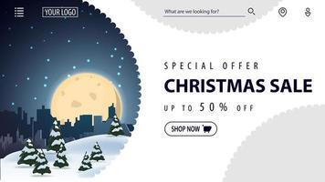 specialerbjudande, julförsäljning, upp till 50 rabatt, vacker vit rabattbanner för webbplats i minimalistisk vit stil med vinterlandskap på bakgrund
