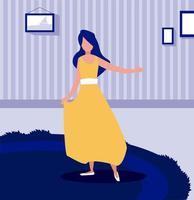 kvinna som står i vardagsrummet och stannar hemma vektor