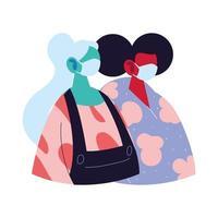 Frauen Avatare Cartoons mit Masken und Pullover Vektor-Design vektor