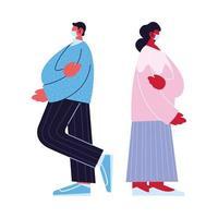 man och kvinna avatar tecknad med mask och pullover vektor design