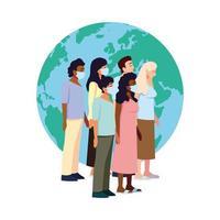 Menschen mit medizinischen Masken vor dem Globusvektorentwurf
