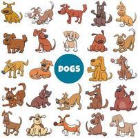 Cartoon Hunde und Welpen Charaktere großen Satz vektor