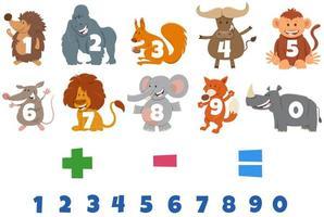 Zahlen mit Zeichentrickfiguren für wilde Tiere vektor