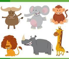 tecknade vilda afrikanska djur teckenuppsättning vektor