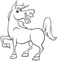 Pferd Farm Tier Charakter Malbuch Seite vektor